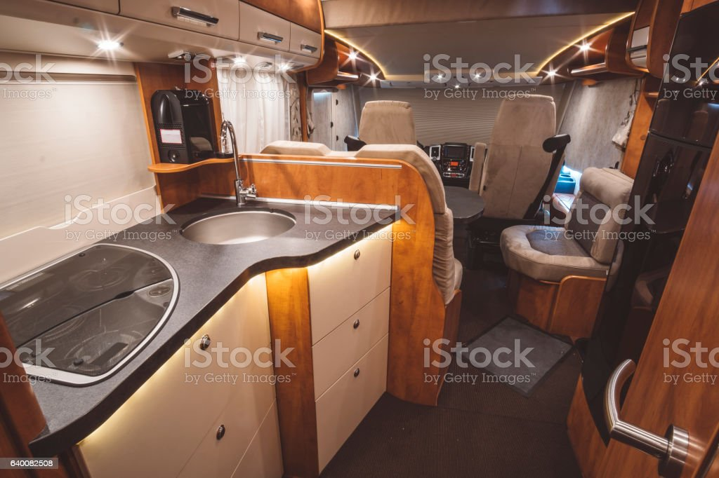 Traveling with a caravan (motorhome) stock photo