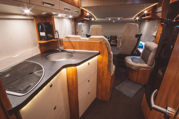 Traveling with a caravan (motorhome) Traveling with a caravan (motorhome) rv interior stock pictures, royalty-free photos & images