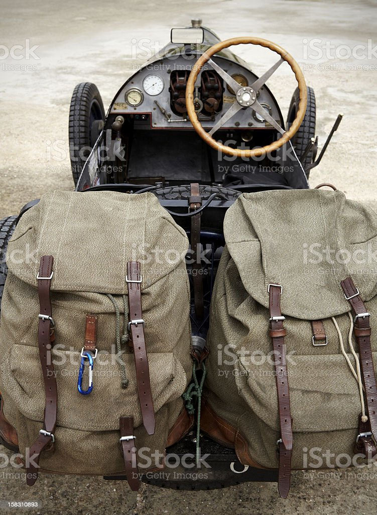 Traveling with a classic car stock photo