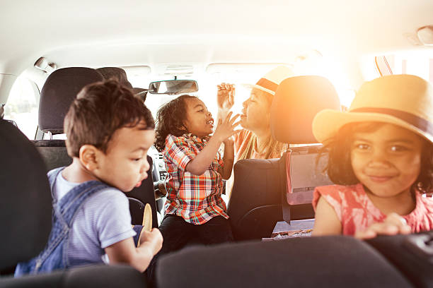 Traveling with kids and animals stock photo