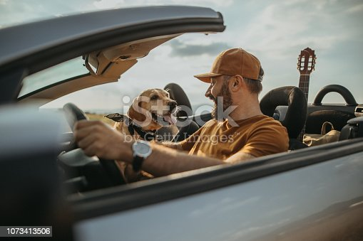 Photo of mature man traveling with his dog in a convertible
