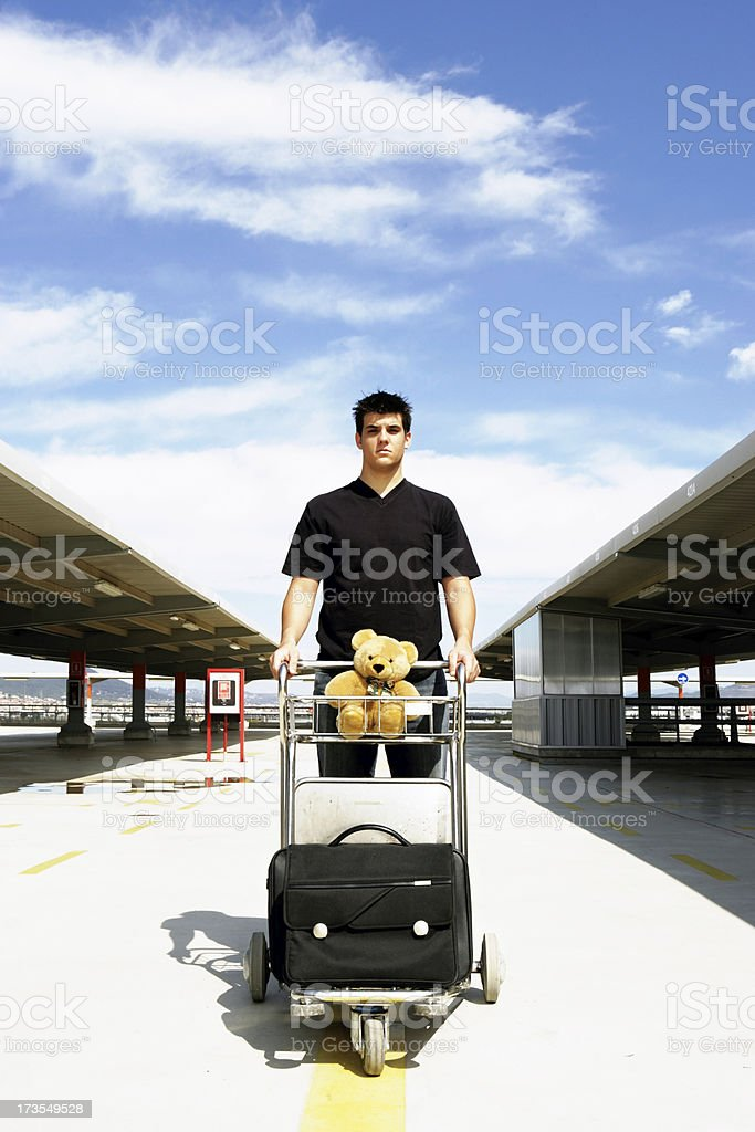 Traveling with teddy bear royalty-free stock photo