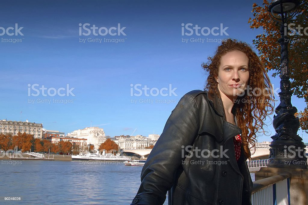 Traveling woman in London (Autumn) royalty-free stock photo