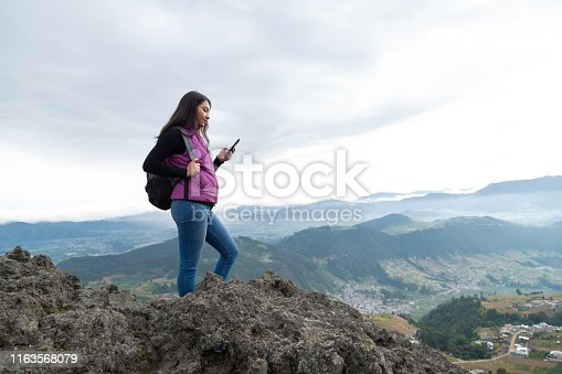 woman at cloudy sunrise in guatemala