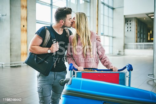 Shot of a happy young couple at the airport