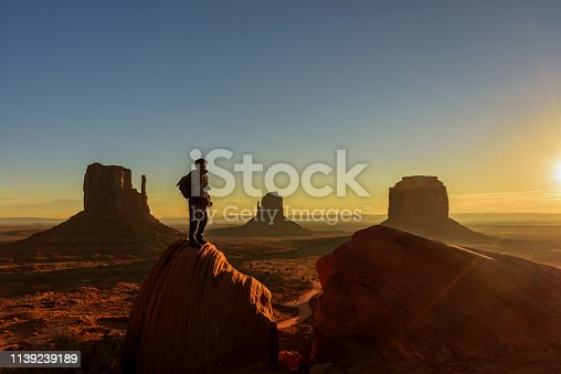 A traveller admiring sunrise at Monument Valley, Arizona