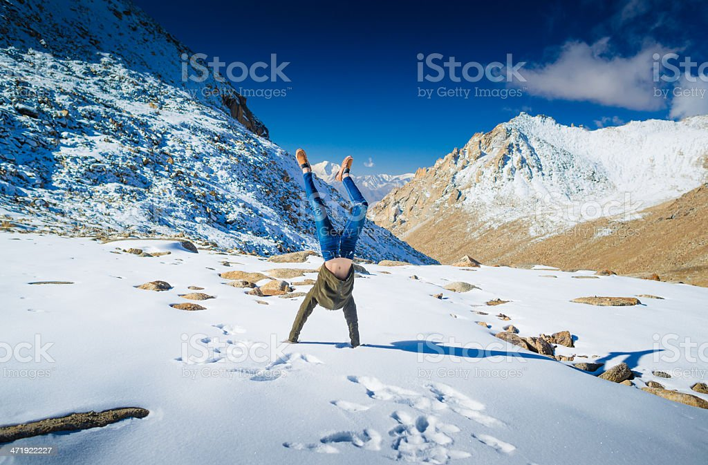 Traveller at mountains . royalty-free stock photo