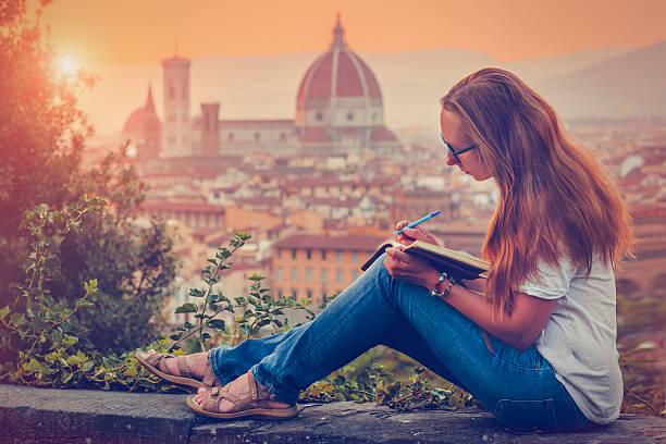 Viajantes em Florença - foto de acervo