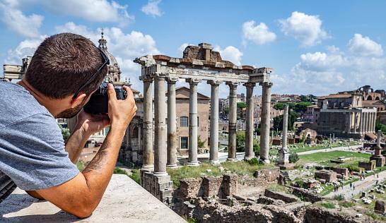Traveller photographer shooting Roman Forum