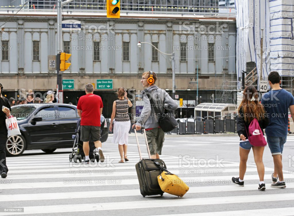 Traveller Walks to Toronto Union Station, Canada stock photo