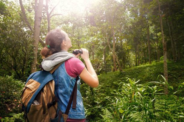 Traveller with backpacker watching through binoculars wildlife birds in the jungle. stock photo