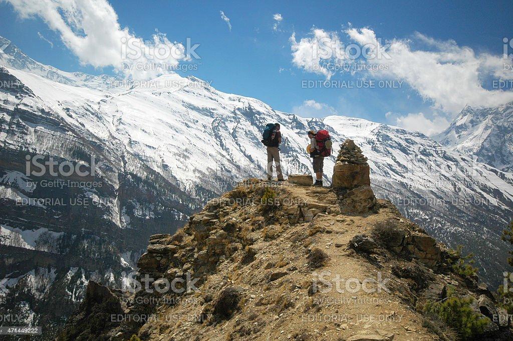 Travellers Annapurna circuit Nepal stock photo