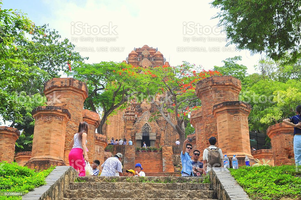 Travellers are visiting the Ponagar temple in Nha Trang stock photo