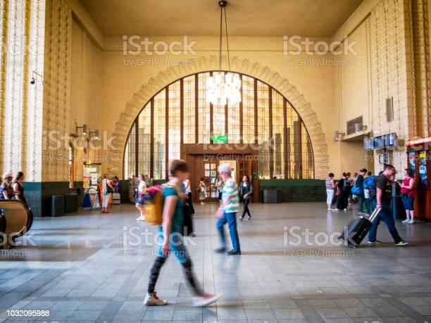 Travellers at Helsinki Central Station, Finland