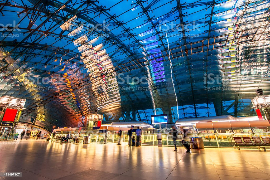 Travellers in Modern Train Station royalty-free stock photo