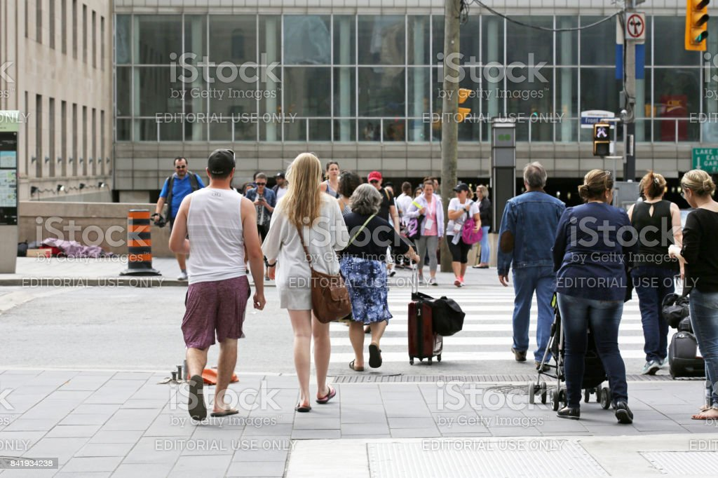 Travellers Outside Toronto Union Station, Front Street stock photo