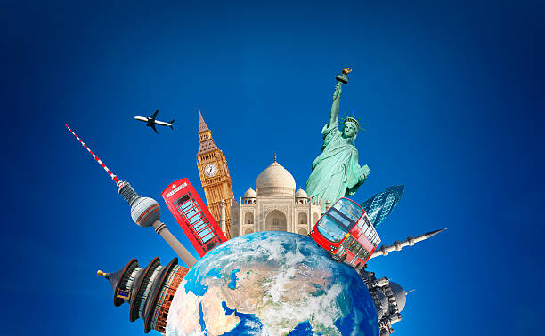 travelling around the globe - international landmark stock photos and pictures
