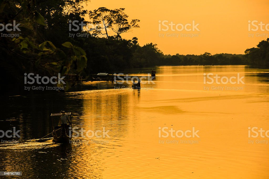 travelling by boat at cambodia stock photo