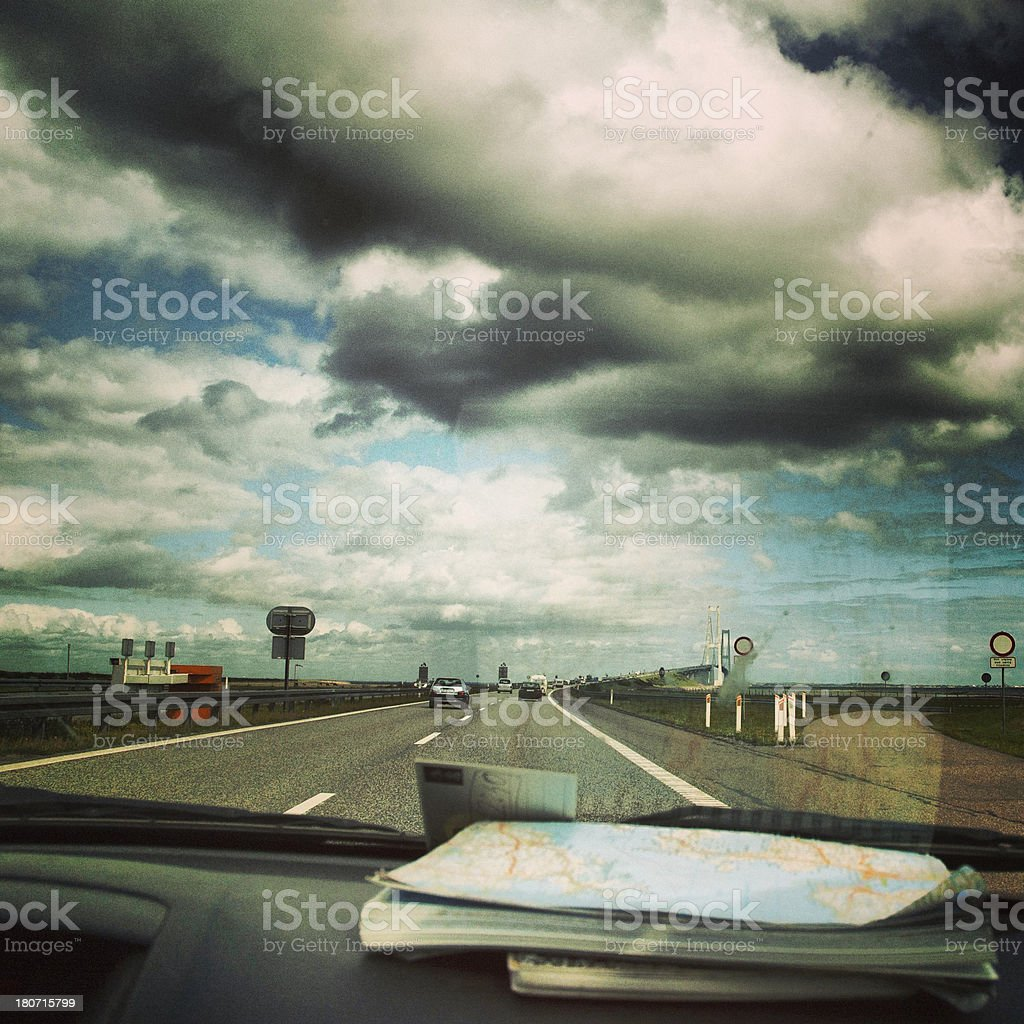 Travelling by car (Denmark) royalty-free stock photo