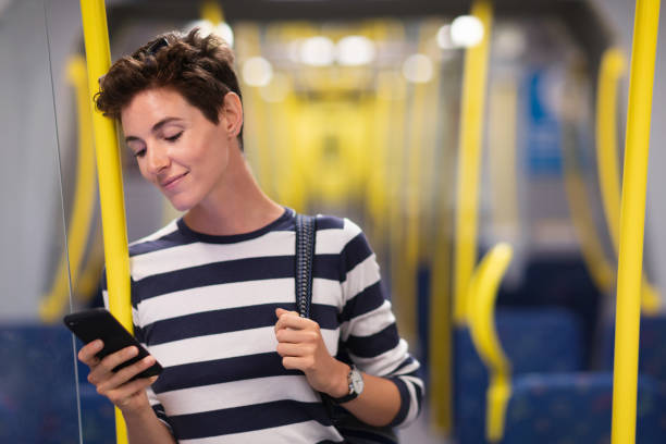 Travelling by subway in Stockholm stock photo