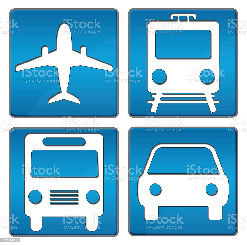 Travelling Icons Blue stock photo