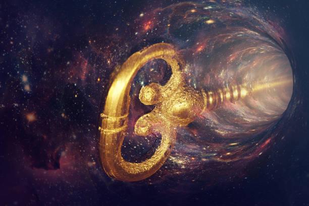 viajar en el espacio con una vieja llave antigua, teletransportarse entre puertas de portal. concepto abstracto - e=mc2 fotografías e imágenes de stock