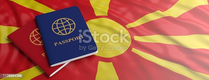 istock Travelling to North Macedonia. Two passports on North Macedonia flag background. 3d illustration 1128684386