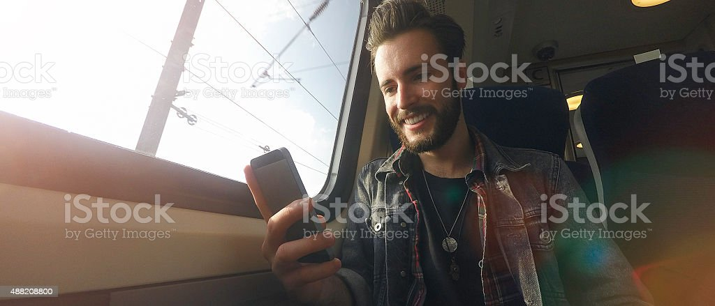 Travelling Young Man stock photo