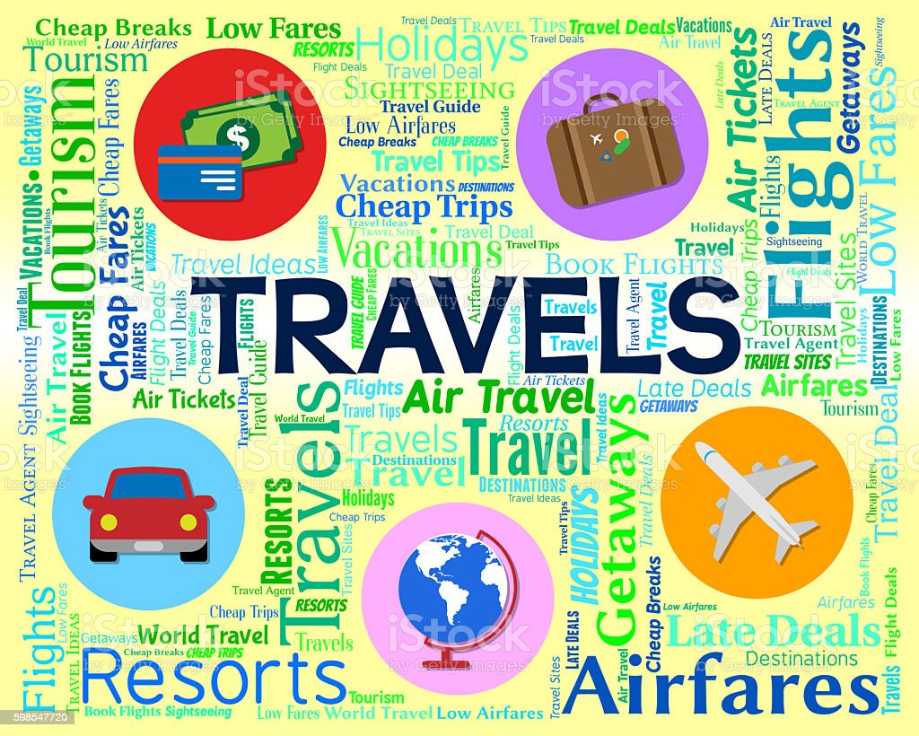 Travels Word Shows Vacationing Journeys And Touring photo libre de droits