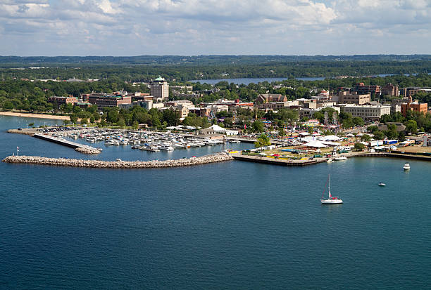 traverse city, michigan - bay of water stock pictures, royalty-free photos & images