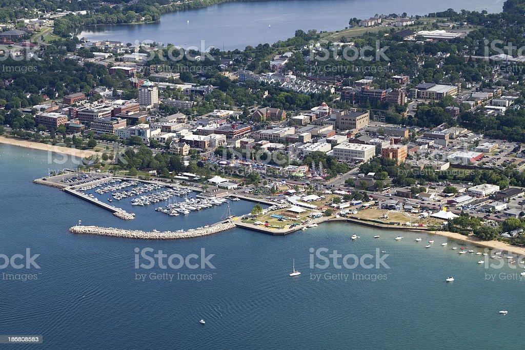 "Traverse City, Michigan ""Aerial view of Traverse City, Michigan."" Above Stock Photo"