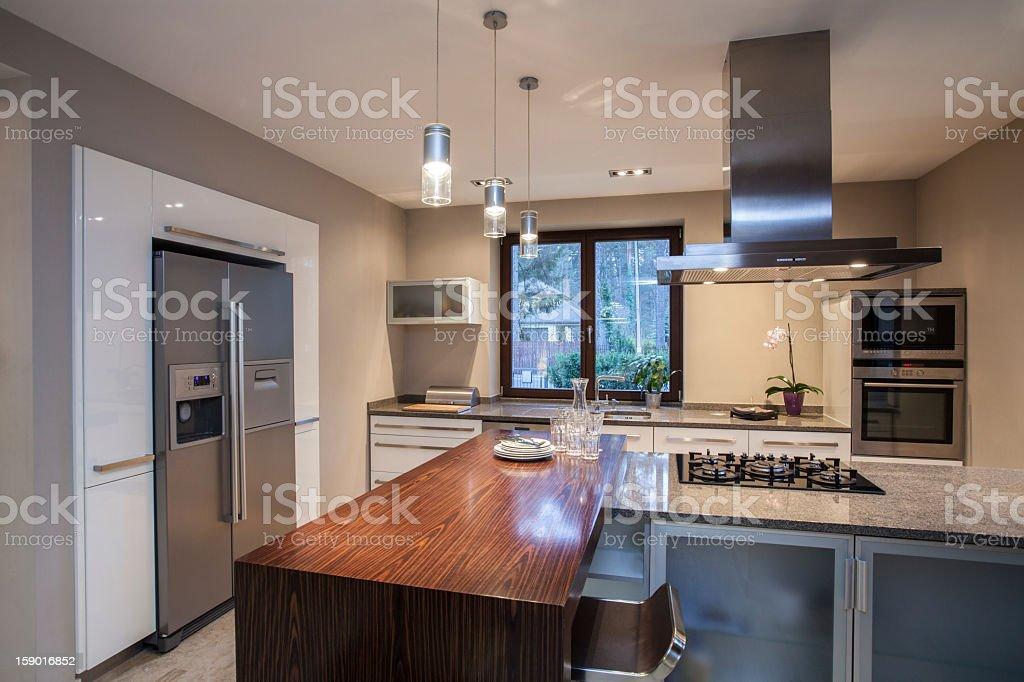 Travertine house - spacious kitchen royalty-free stock photo