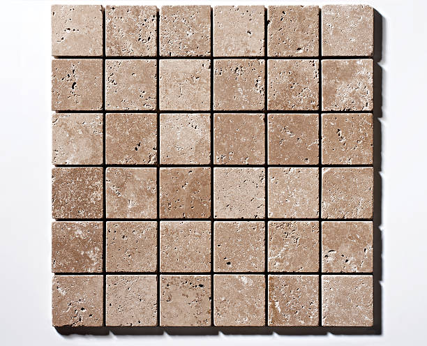 Mosaico de travertino, 5 x 5 cm - foto de stock