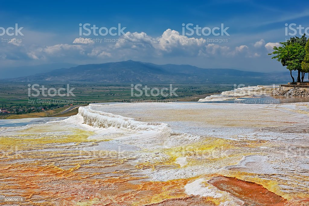 Travertine pools and terraces at Pamukkale, Turkey. stock photo