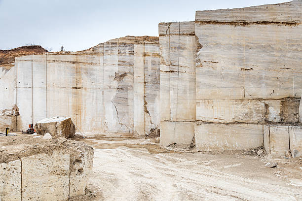 Travertine stone quarry stock photo