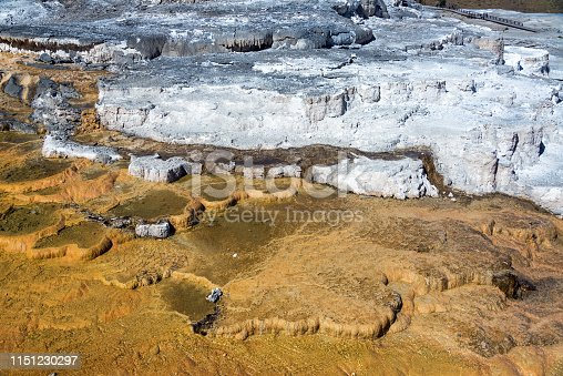 View of travertine terraces at Mammoth Hot Springs in Yellowstone National Park