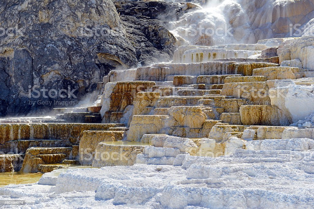 Travertine terraces at Mammoth Hot Springs, Yellowstone National Park stock photo