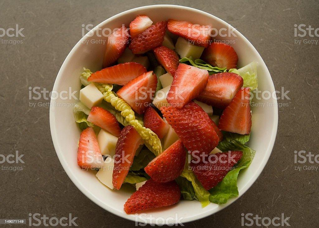 trawberry, Mozzarella, Lettuce Salad in White Bowl royalty-free stock photo