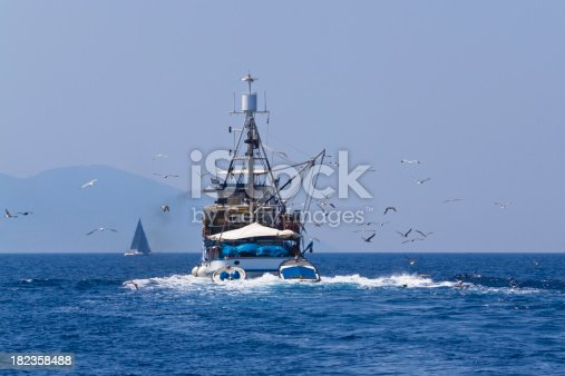 mediterranean style trawler followed by sea gullsCHECK OTHER SIMILAR IMAGES IN MY PORTFOLIO....