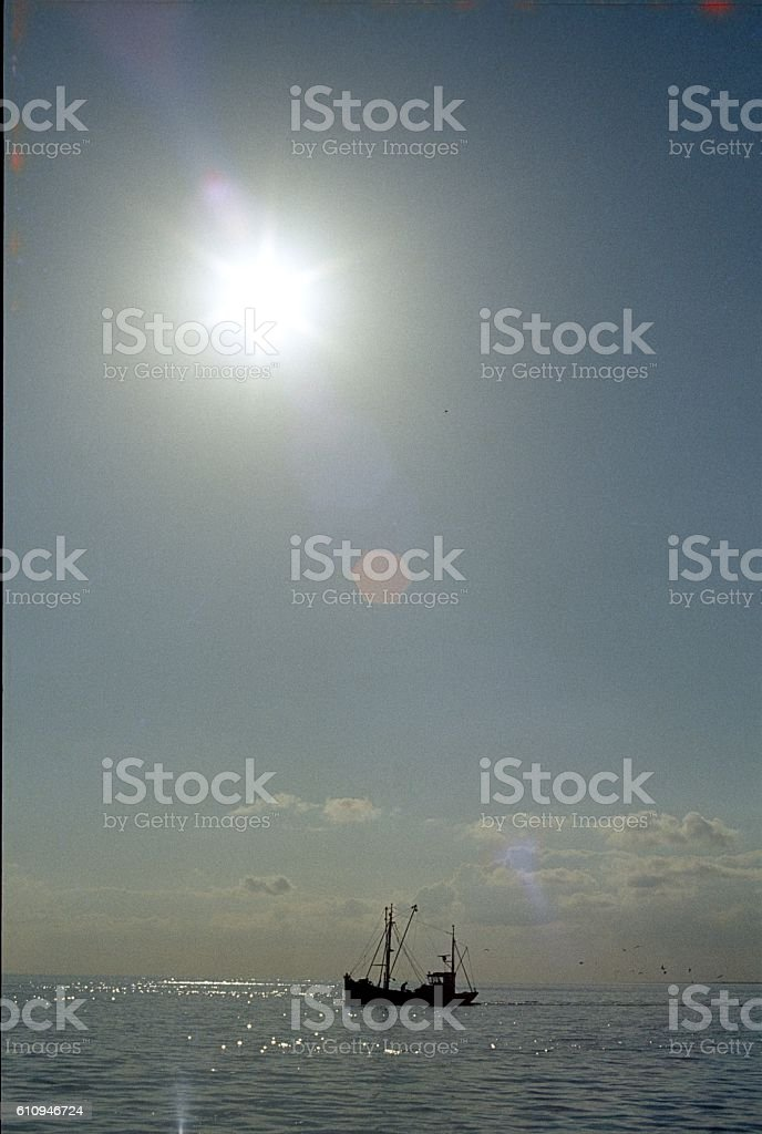 Trawler in the North Sea stock photo