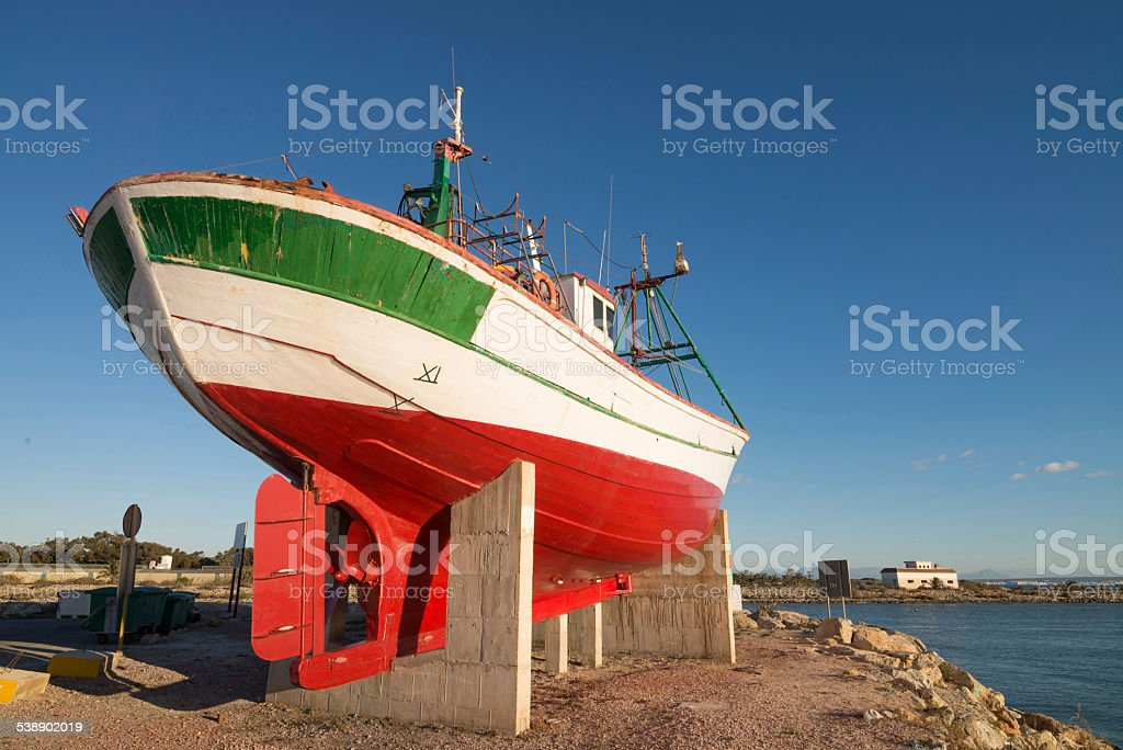 Trawler on a shipyard stock photo