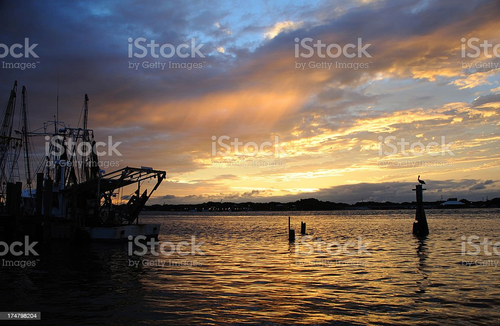 Trawler & Pelican royalty-free stock photo