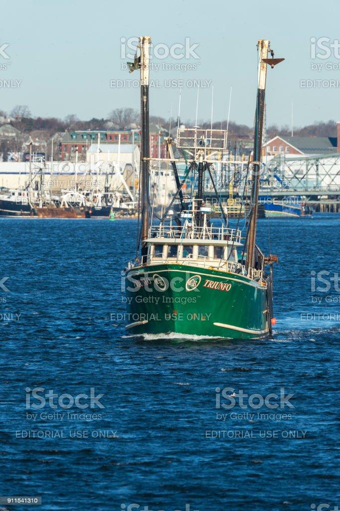 Trawler Trifuno on Acushnet River stock photo