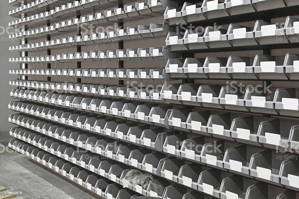 Tray bins storage stock photo