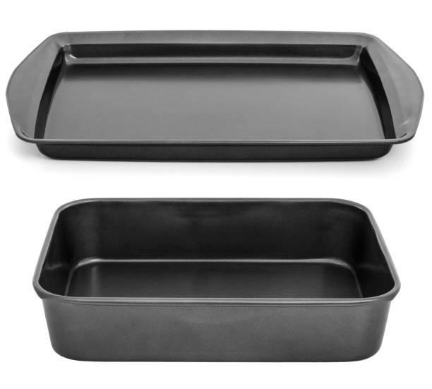 tablett für backofen / leere backblech isoliert auf weiss - chefkoch auflauf stock-fotos und bilder