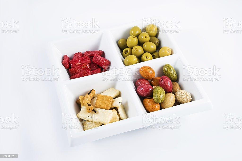 Tablett mit Appetithäppchen Lizenzfreies stock-foto