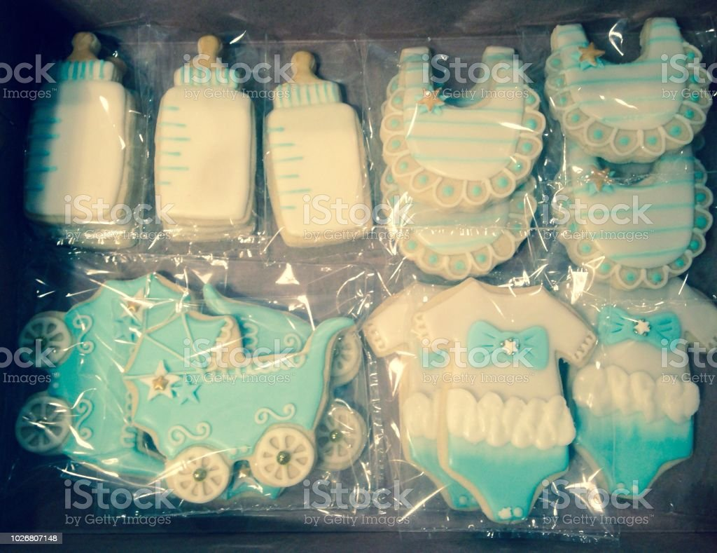 A Tray Of Baby Shower Cookies As Party Favors Stock Photo