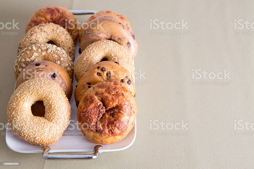 Tray of Bagels Placed on a Table with Copy Space stock photo