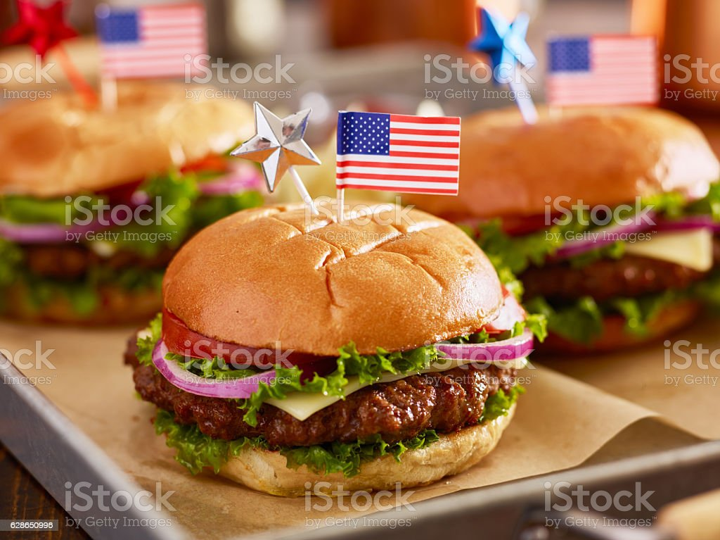 tray of burgers with 4th of july theme stock photo