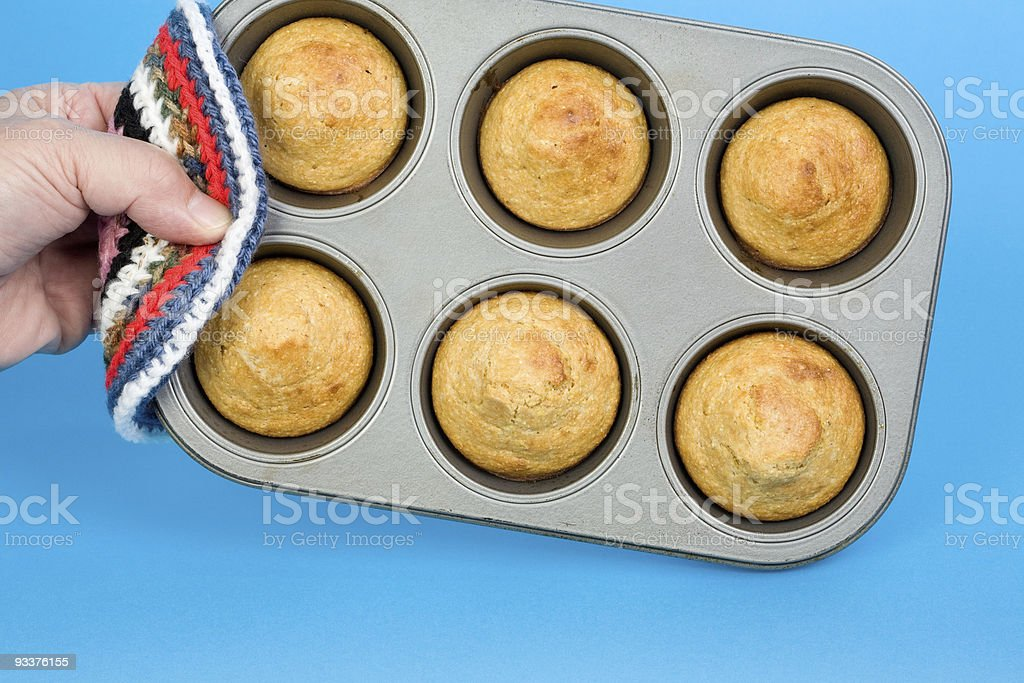 Tray of Corn Muffins royalty-free stock photo